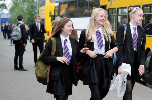 St. Mary's Menston pupils arrive by bus, June 18 2014