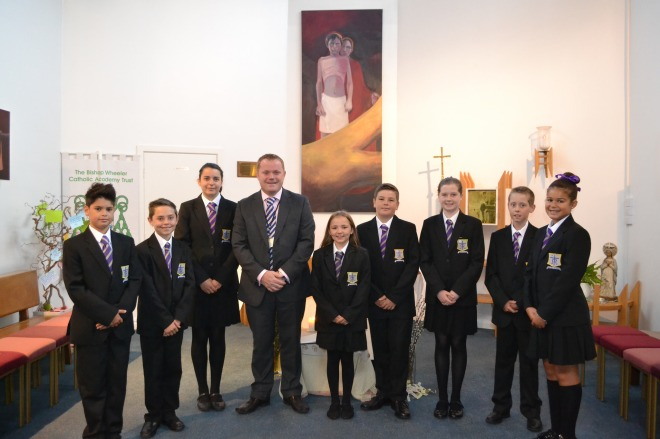 Mr Beardsley with Year 7 pupils in the St. Mary's Menston Chapel